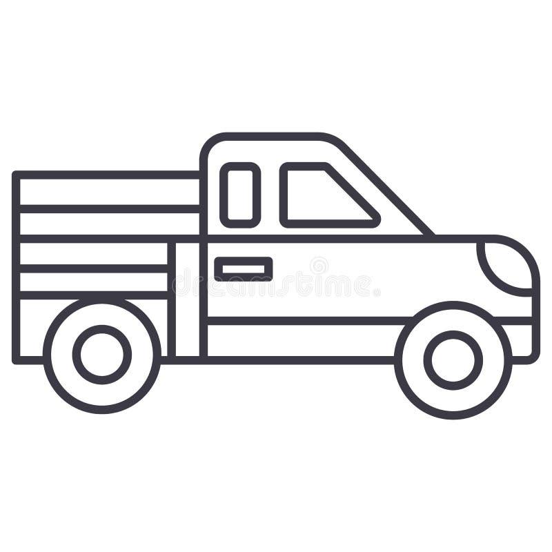 Linje symbol, tecken, illustration för biluppsamlingsvektor på bakgrund, redigerbara slaglängder royaltyfri illustrationer