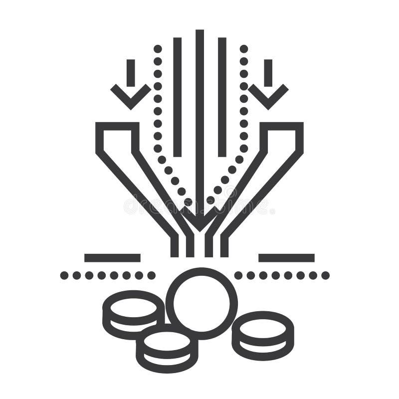 Linje symbol, tecken, illustration för försäljningstrattvektor på bakgrund, redigerbara slaglängder vektor illustrationer