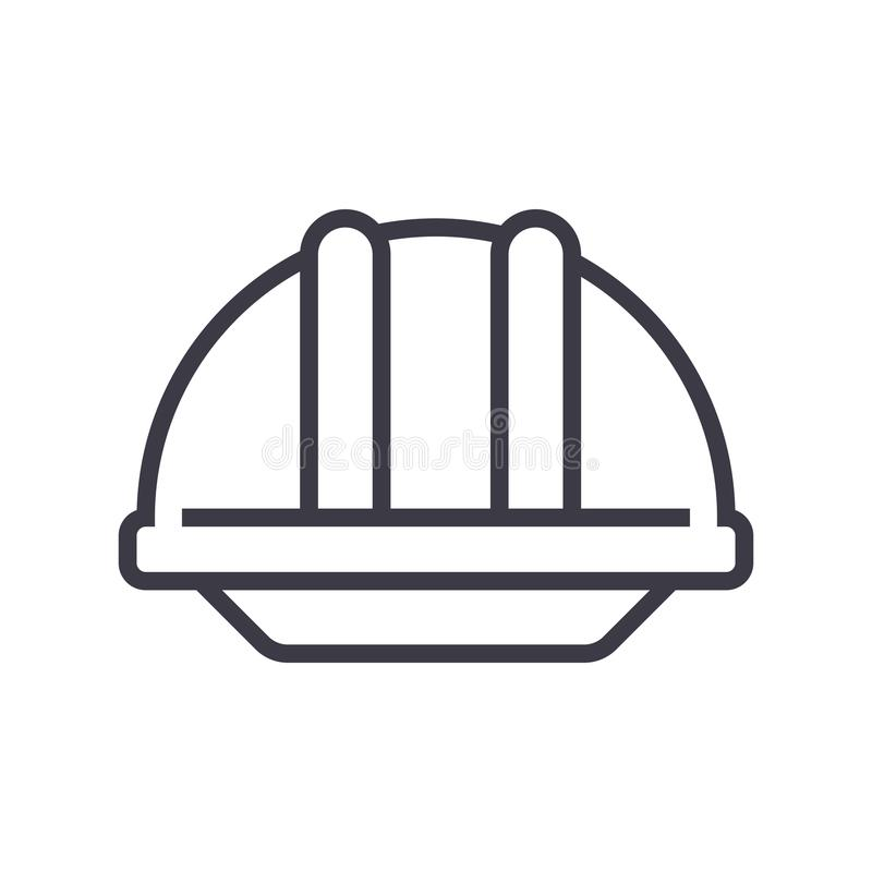 Linje symbol, tecken, illustration för konstruktionshjälmvektor på bakgrund, redigerbara slaglängder vektor illustrationer