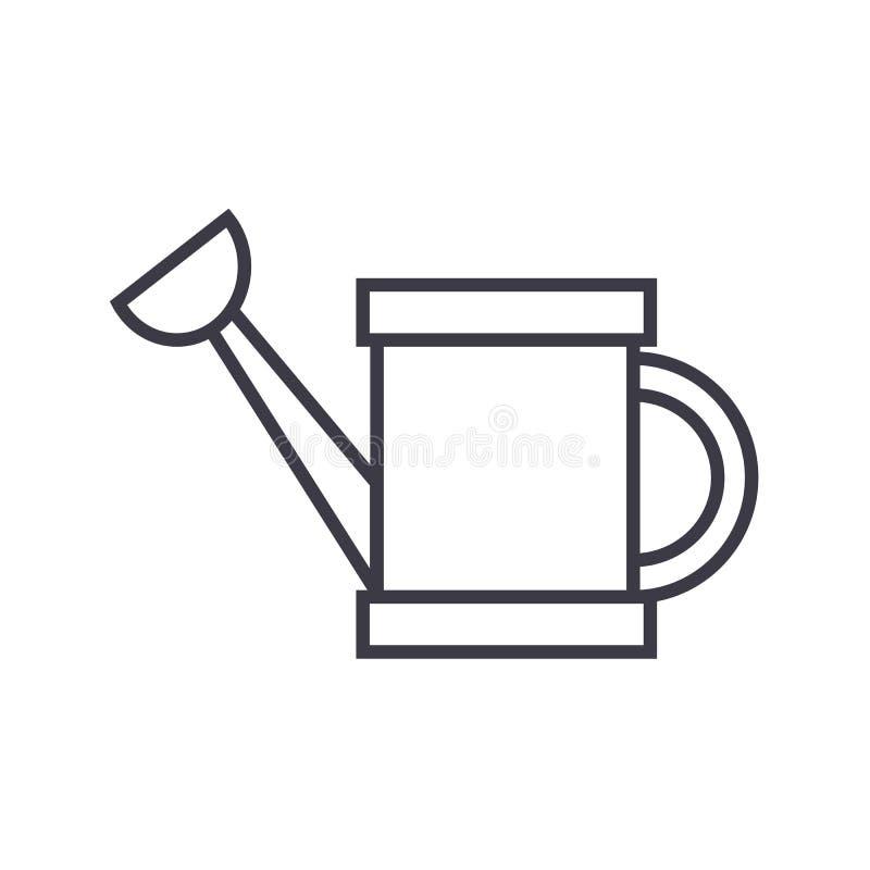 Linje symbol, tecken, illustration för vektor för behållare för vattenuppvärmning på bakgrund, redigerbara slaglängder stock illustrationer