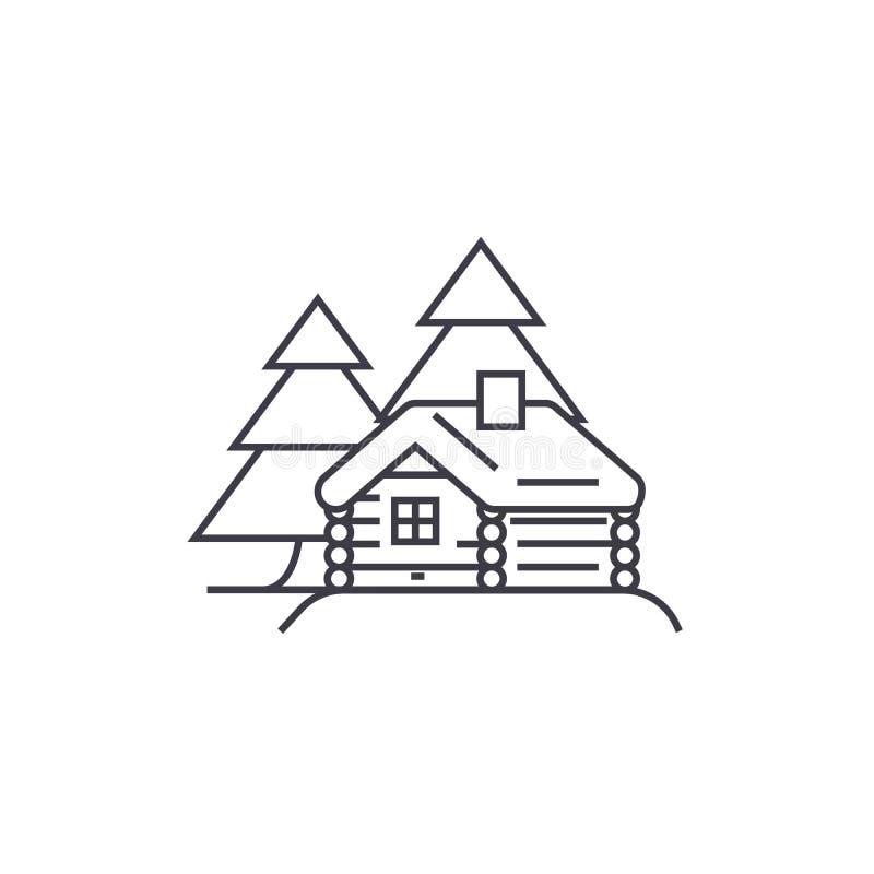 Linje symbol, tecken, illustration för vektor för journalkabin på bakgrund, redigerbara slaglängder royaltyfri illustrationer