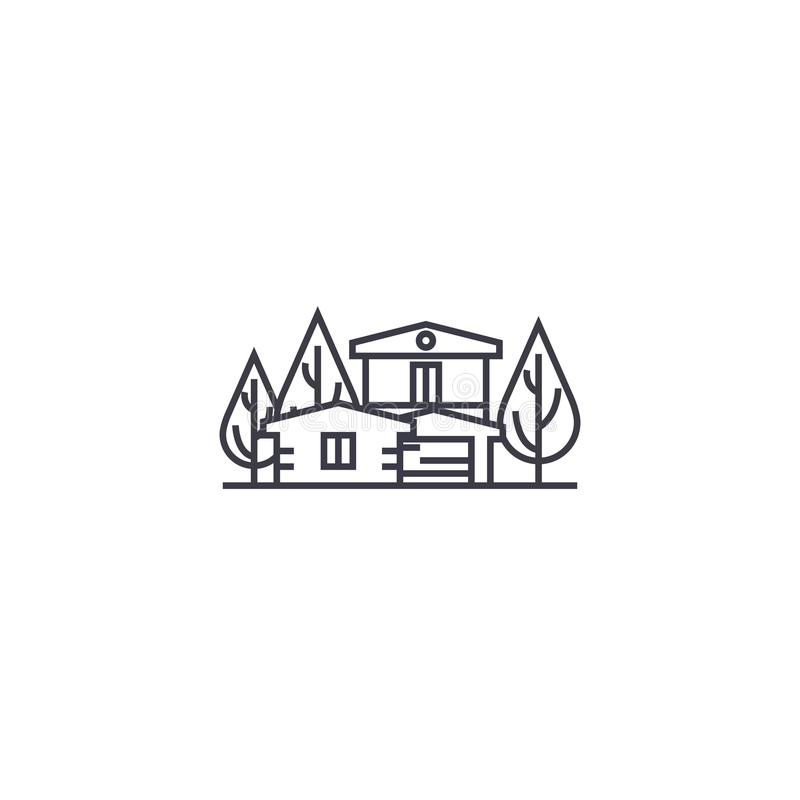 Linje symbol, tecken, illustration för vektor för landshus på bakgrund, redigerbara slaglängder vektor illustrationer
