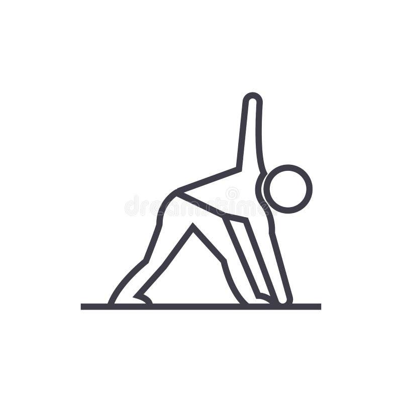 Linje symbol, tecken, illustration för yogamanvektor på bakgrund, redigerbara slaglängder royaltyfri illustrationer