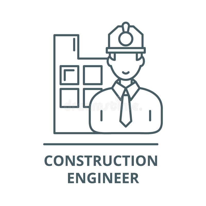 Linje symbol, vektor för konstruktionstekniker Tecken för översikt för konstruktionstekniker, begreppssymbol, plan illustrati royaltyfri illustrationer