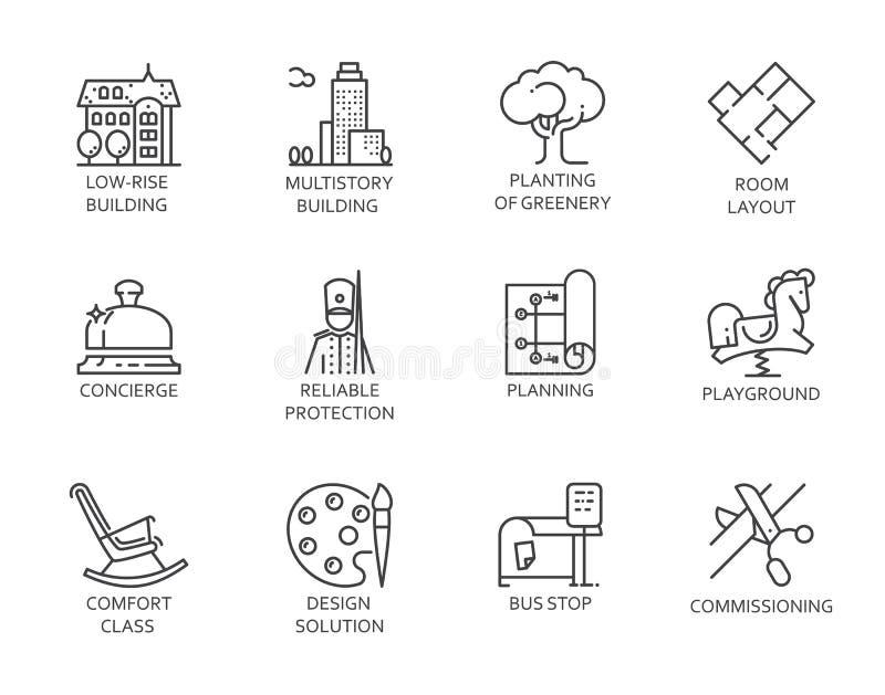 Linje symboler av fastigheten Översiktssymboler av stadsinfrastruktur linjärt tecken som 12 isoleras på vit Vektorkonturlogo vektor illustrationer