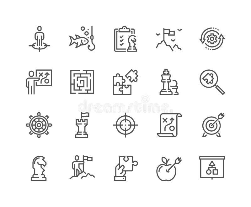 Linje symboler för affärsstrategi royaltyfri illustrationer