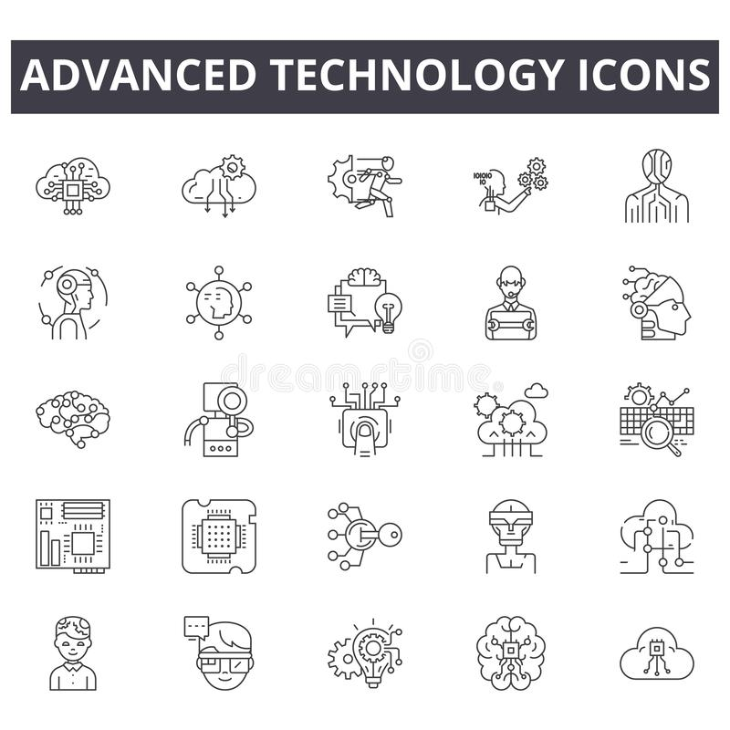 Linje symboler för avancerad teknologi Redigerbart slaglängdtecken Begreppssymboler: digital affär, anslutning, kommunikation stock illustrationer
