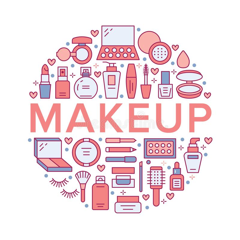 Linje symboler för begrepp för affisch för cirkel för makeupskönhetomsorg röd Skönhetsmedelillustrationer av läppstift, mascara,  vektor illustrationer