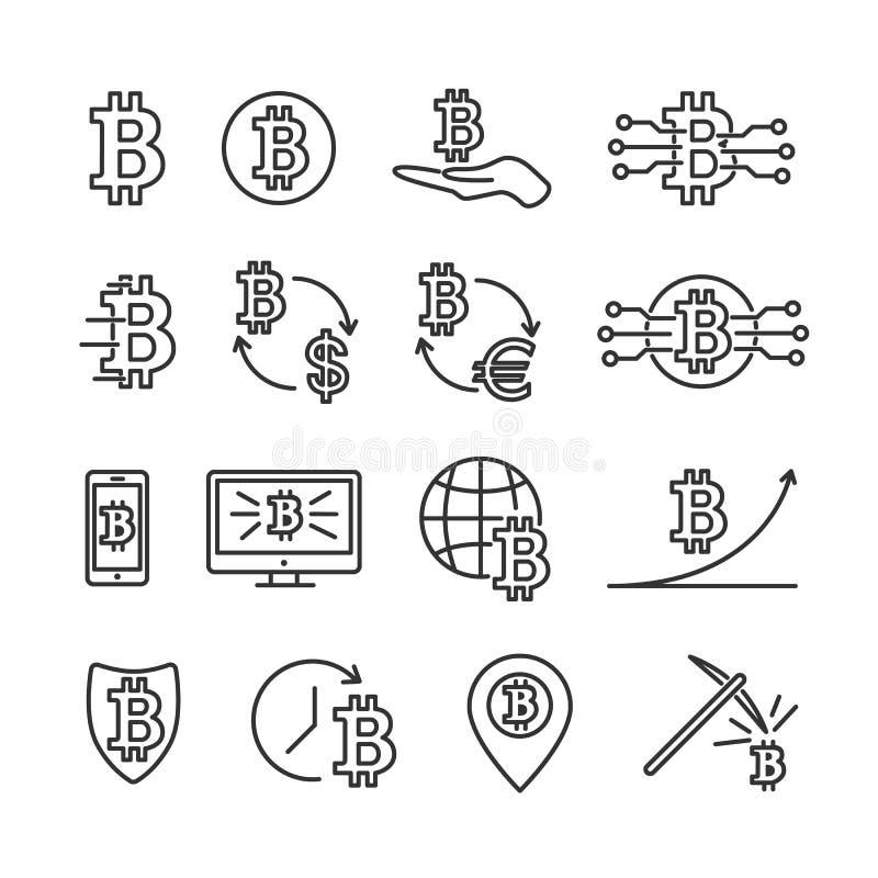 Linje symboler för bitcoin för vektorbilduppsättning stock illustrationer