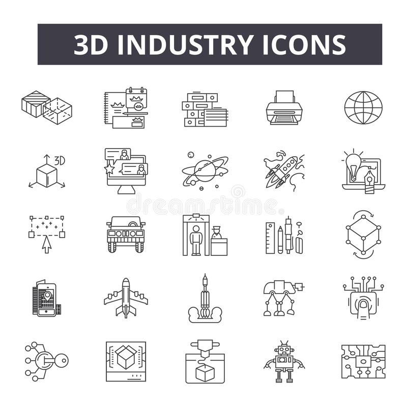 linje symboler för bransch 3d Redigerbart slaglängdtecken Begreppssymboler: industriell design, teknologi, fabrik, konstruktion royaltyfri illustrationer