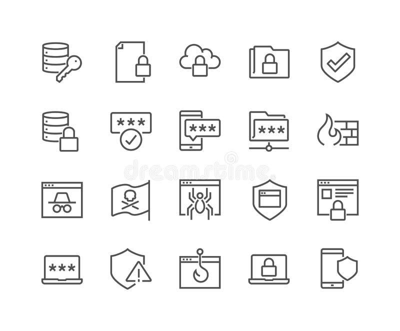 Linje symboler för datasäkerhet royaltyfri illustrationer