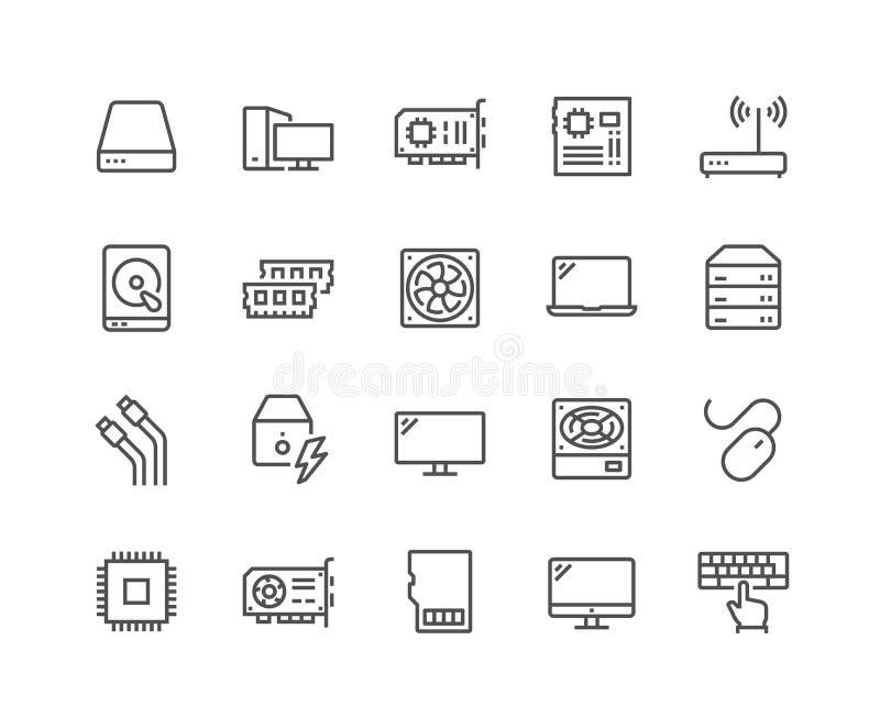 Linje symboler för datordelar royaltyfri illustrationer