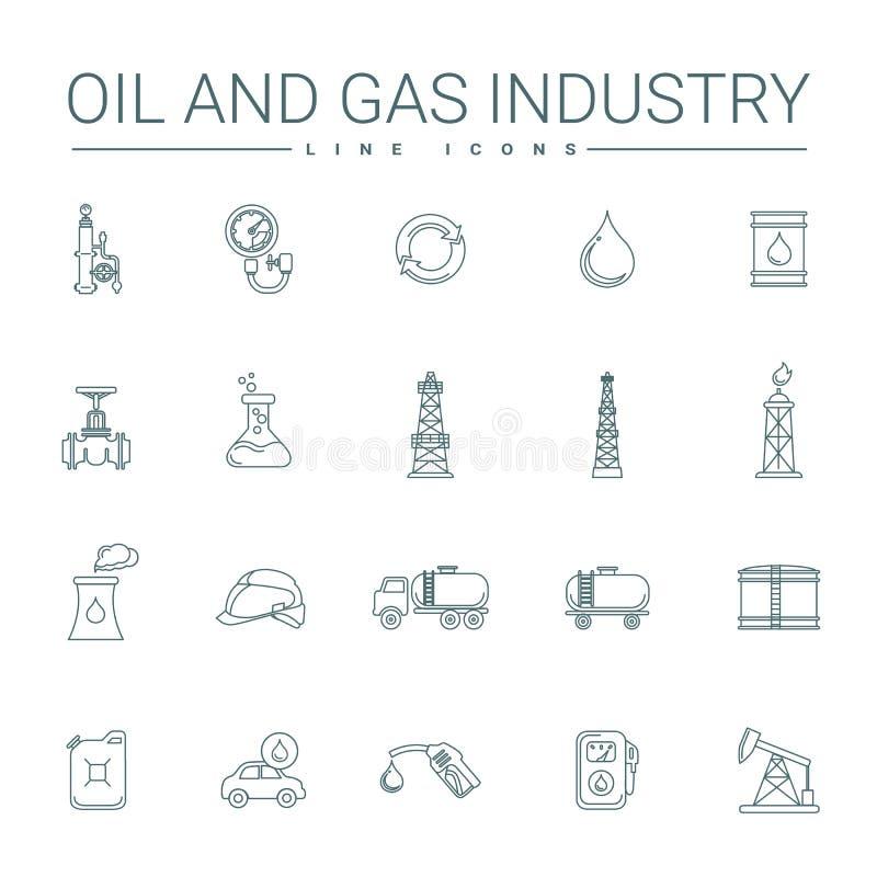 Linje symboler för fossila bränslenbransch vektor illustrationer
