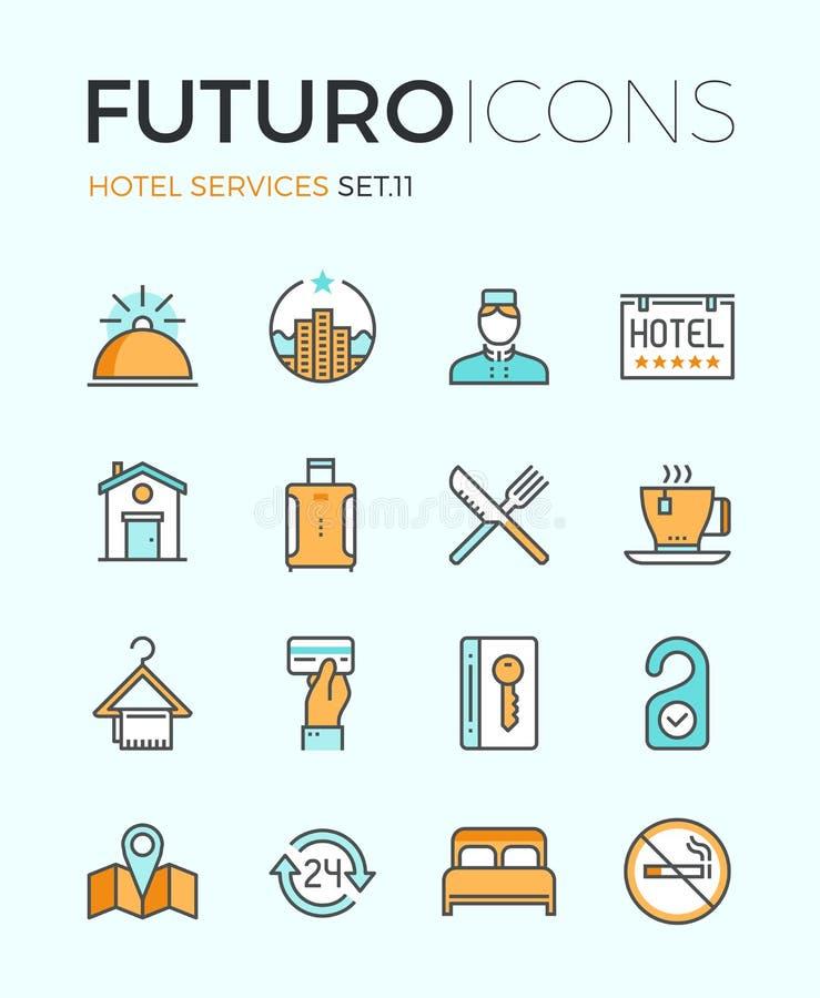 Linje symboler för futuro för hotellservice royaltyfri illustrationer