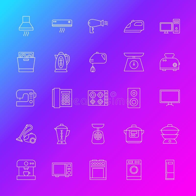 Linje symboler för hushållanordning royaltyfri illustrationer