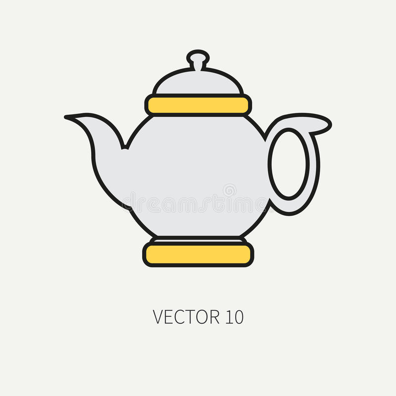Linje symboler för kitchenware för lägenhetfärgvektor - tekanna Bestickhjälpmedel Tecknad filmstil Illustration och beståndsdel f stock illustrationer