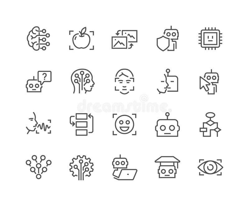 Linje symboler för konstgjord intelligens royaltyfri illustrationer