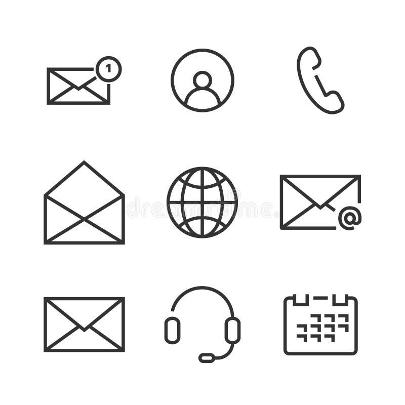 Linje symboler för 9 kontakt royaltyfri illustrationer