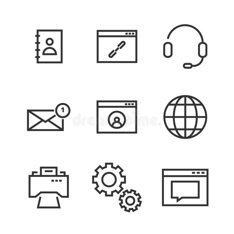 Linje symboler för 9 kontakt vektor illustrationer