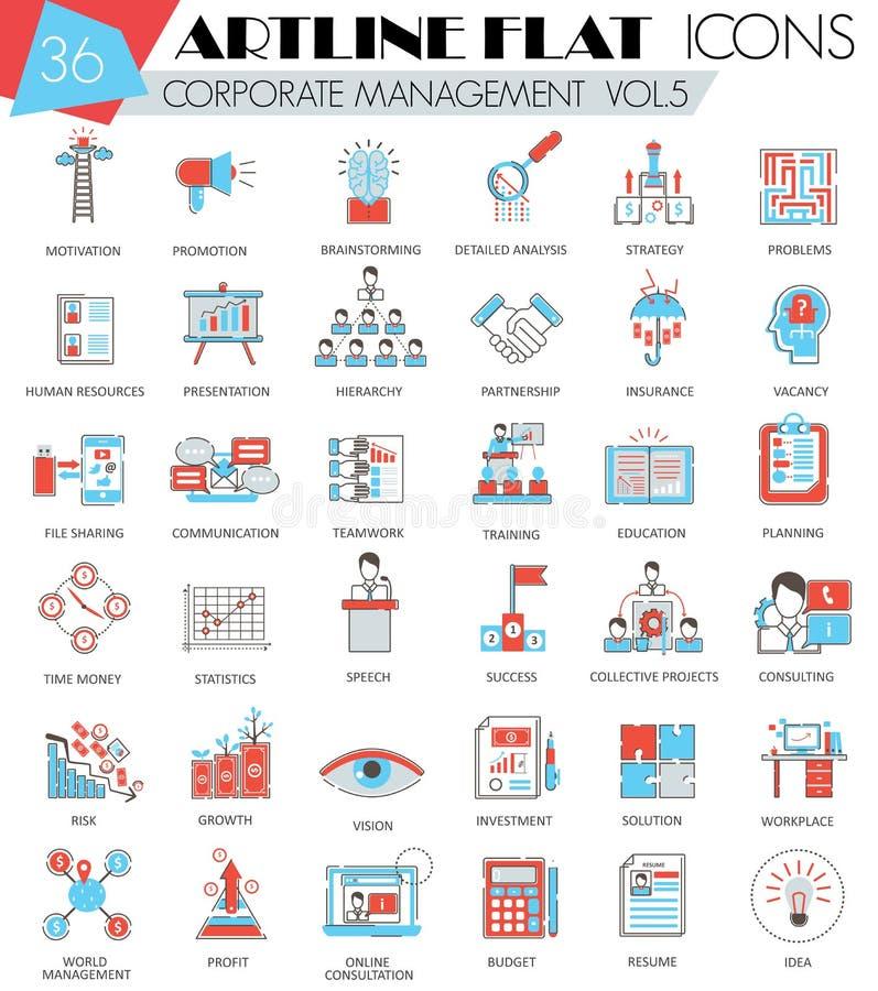Linje symboler för lägenhet för artline för översikt för ledning för vektor företags ultra modern för rengöringsduk och apps royaltyfri illustrationer