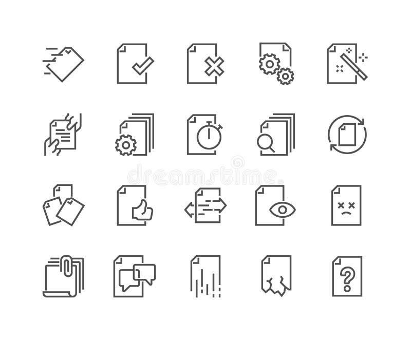 Linje symboler för ledning för dokumentflöde royaltyfri illustrationer