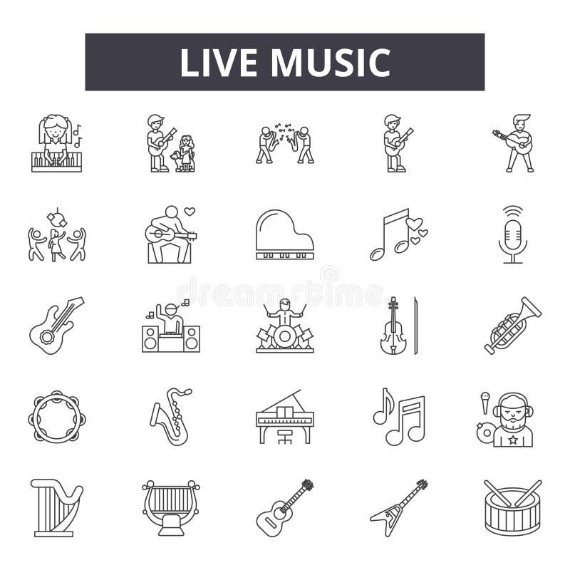 Linje symboler för levande musik för rengöringsduk och mobil design Redigerbart slaglängdtecken För översiktsbegrepp för levande  royaltyfri illustrationer