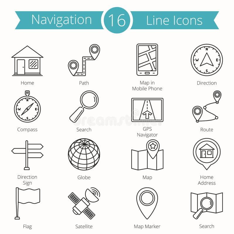 Linje symboler för 16 navigering vektor illustrationer