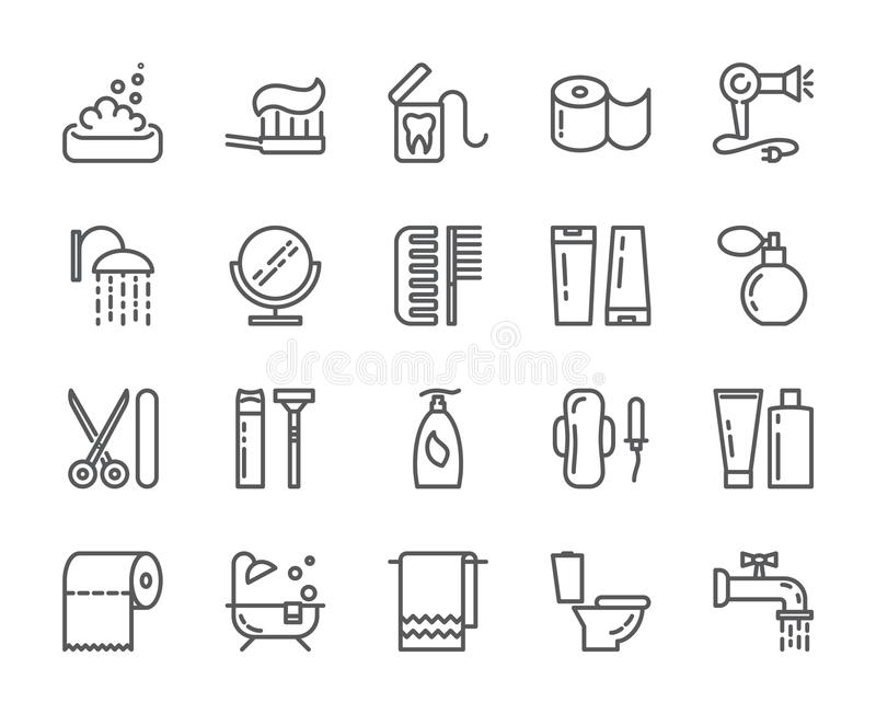 Linje symboler för PIXEL för personlig hygien perfekt Uppsättning av beståndsdelar av duschen, tvål, badrummet, toaletten, tandbo vektor illustrationer