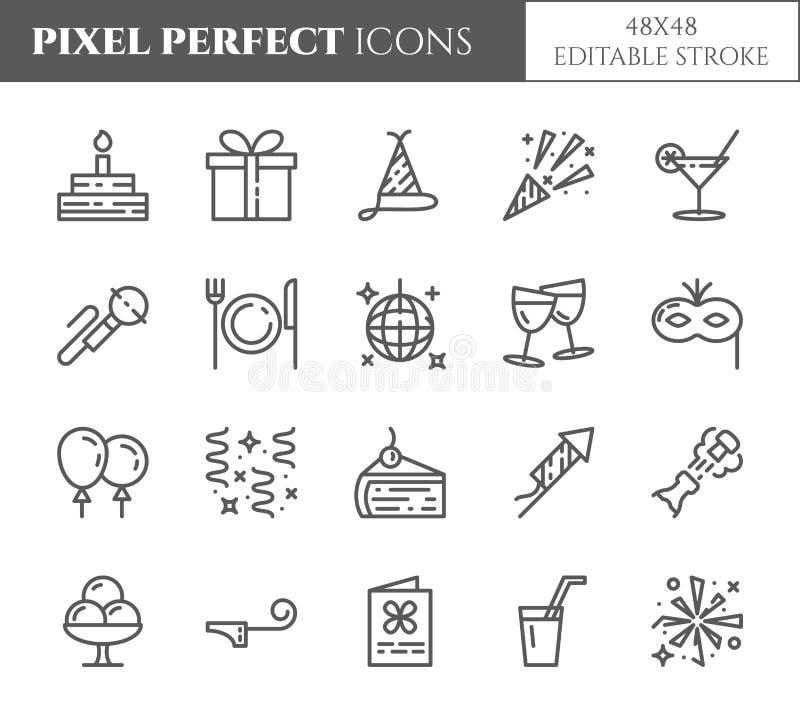Linje symboler för PIXEL för tema för födelsedagparti perfekt tunn Uppsättning av beståndsdelar av kakan, gåva, champagne, diskot vektor illustrationer