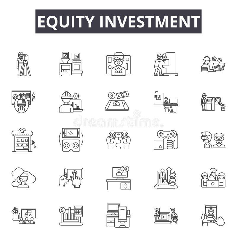 Linje symboler för rättvisainvestering för rengöringsduk och mobil design Redigerbart slaglängdtecken Begrepp för översikt för rä vektor illustrationer