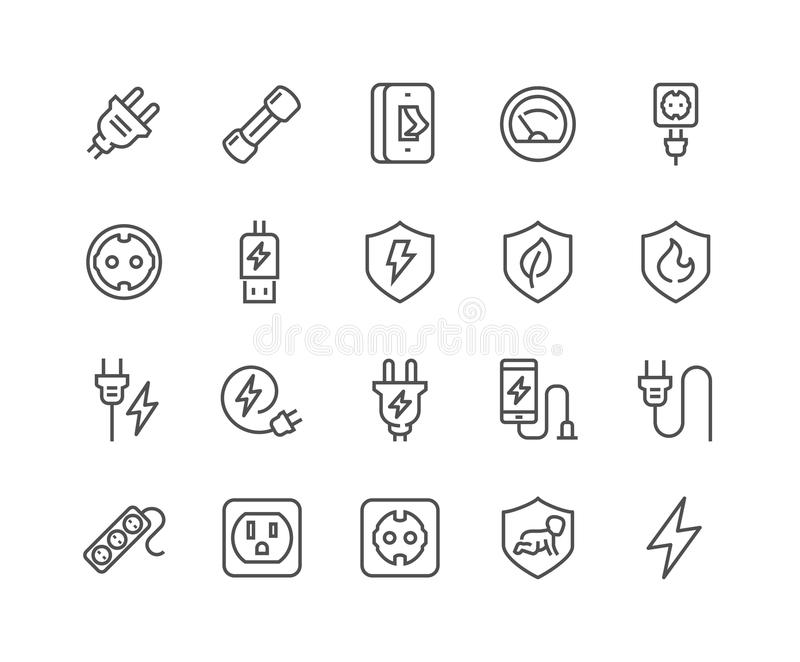 Linje symboler för svallvågbeskyddande vektor illustrationer