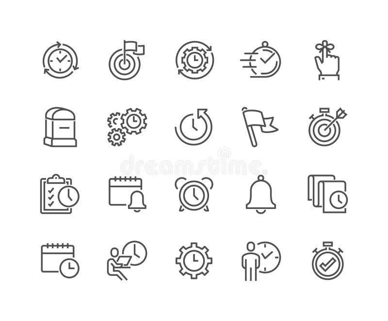 Linje symboler för Tid ledning royaltyfri illustrationer