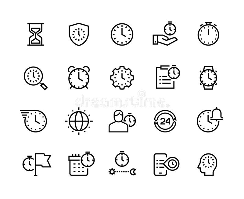 Linje symboler för Tid ledning Tunna vektorsymboler för stoppur, för larm och för timglas Timekeeping- och affärseffektivite royaltyfri illustrationer