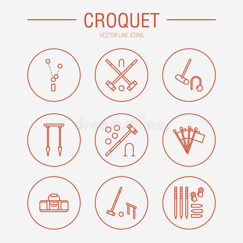 Linje symboler för vektor för krocketsportlek Bollen klubbor, förenar, pinnor, hörnflaggor Trädgård uppsättning för gräsmattaakti stock illustrationer