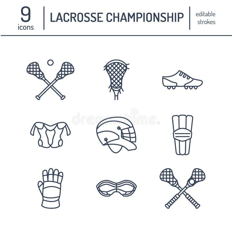Linje symboler för vektor för lacrossesportlek Klumpa ihop sig, klibba, hjälmen, handskar, flickaskyddsglasögon Linjär teckenupps royaltyfri illustrationer
