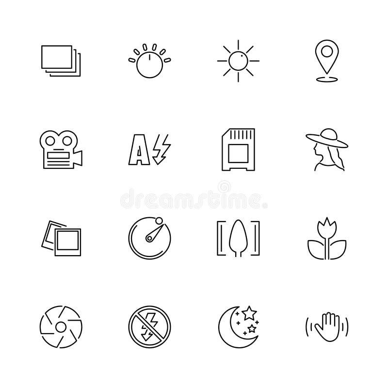 Linje symboler för vektor för fotofunktionsläge plan vektor illustrationer