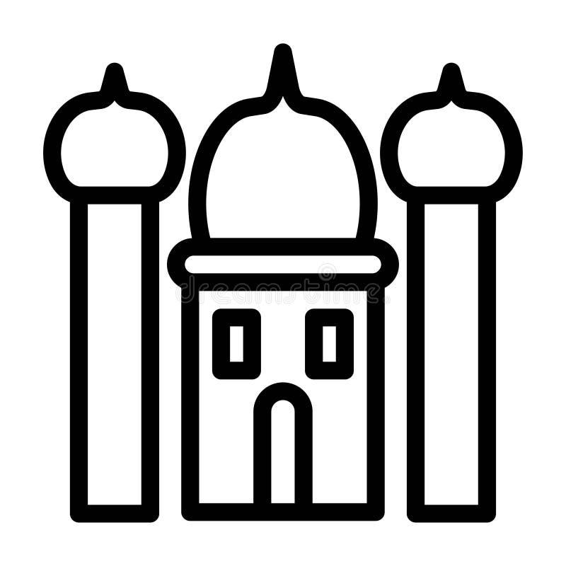 Linje symboler för vektor för Ramadan Mosque Building Architecture Islam religionkultur Redigerbar slagl?ngd och f?rg vektor illustrationer