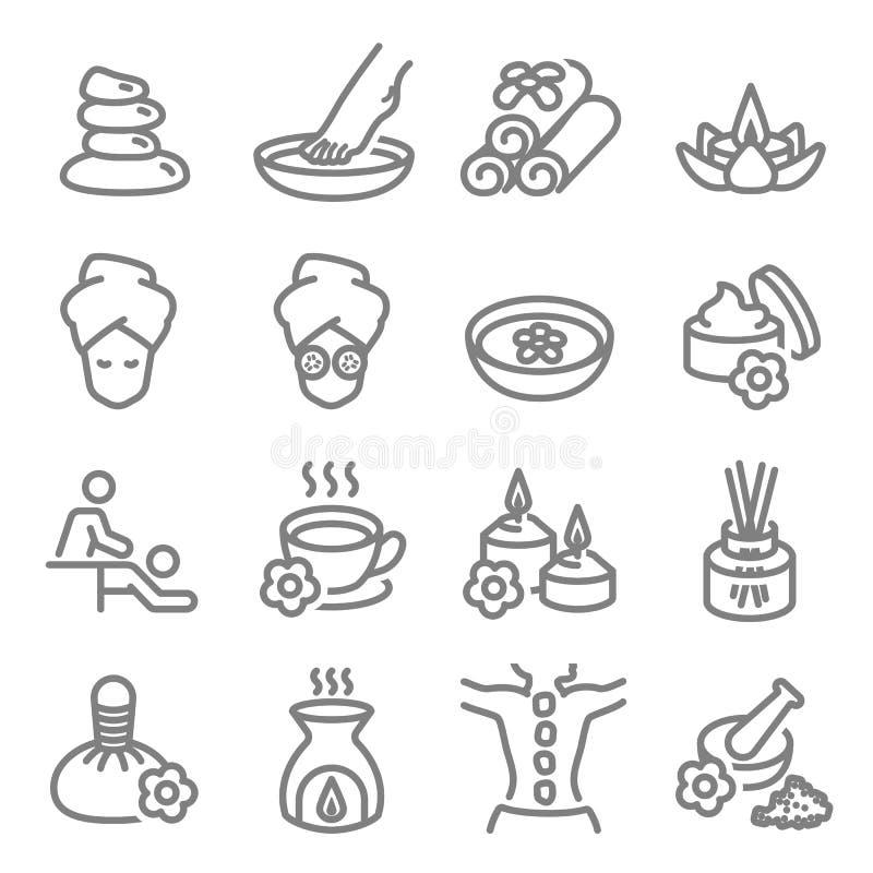 Linje symboler för vektor för Spa massage släkt Innehåller sådana symboler som aromstearinljuset, fotmassagen, diffusor och mer U vektor illustrationer