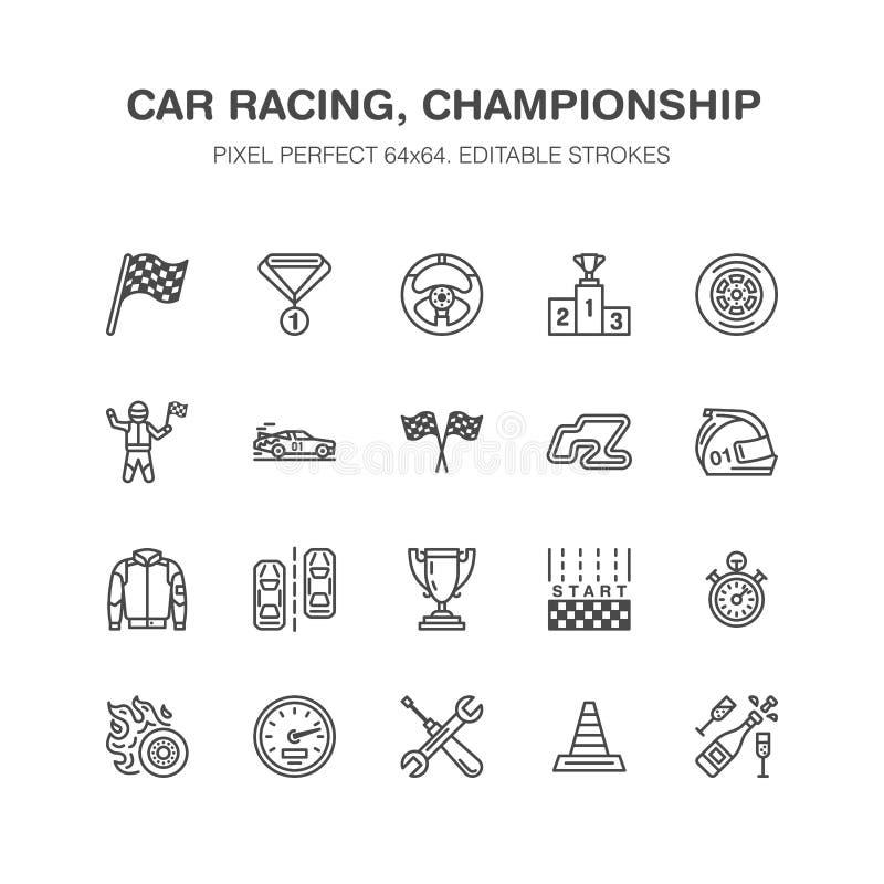 Linje symboler för vektor för springa för bil plan Rusa auto mästerskaptecken - spåret, bilen, racerbilen, hjälmen, rutiga flaggo royaltyfri illustrationer