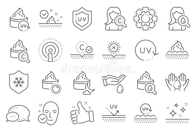 Linje symboler f?r hudomsorg Collagen-, kr?m-, serumolja och Skincare vektor vektor illustrationer