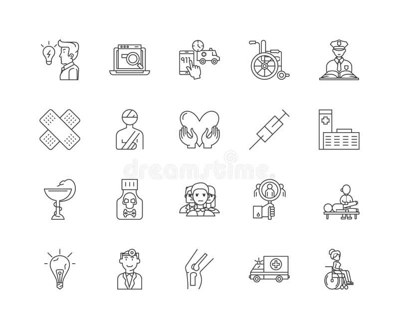 Linje symboler, linjärt tecken, vektoruppsättning, översiktsbegreppsillustration för olycksutredning royaltyfri illustrationer