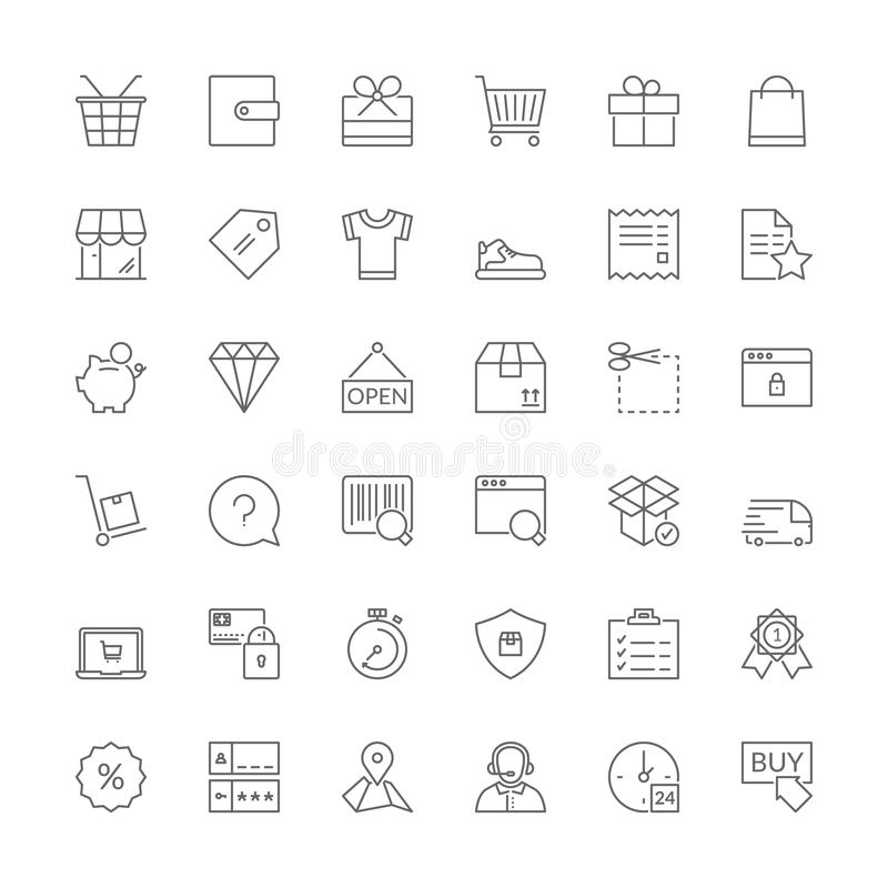 Linje symboler shopping stock illustrationer