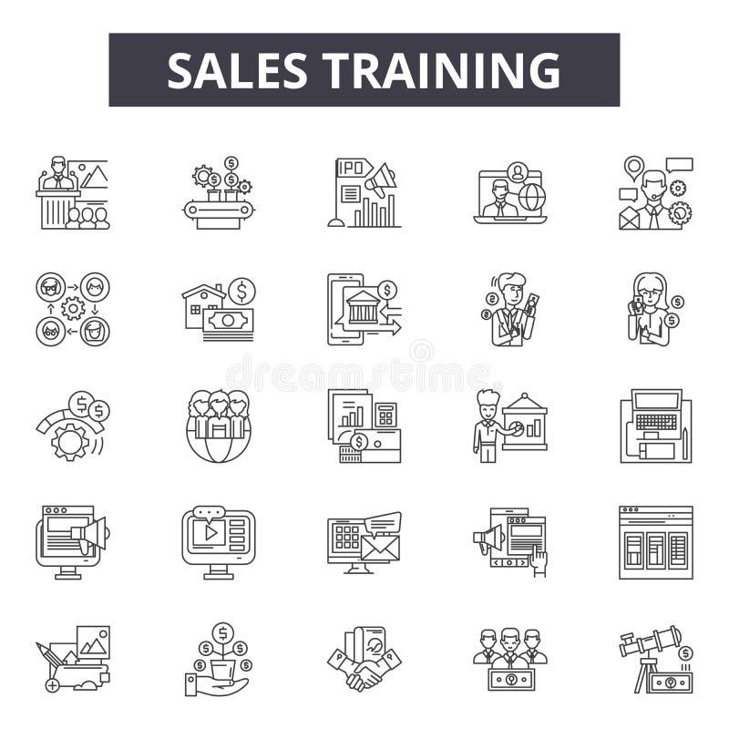 Linje symboler, tecken, vektoruppsättning, översiktsillustrationbegrepp för försäljningsutbildning stock illustrationer