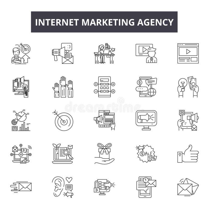 Linje symboler, tecken, vektoruppsättning, översiktsillustrationbegrepp för internetmarknadsföringsbyrå stock illustrationer
