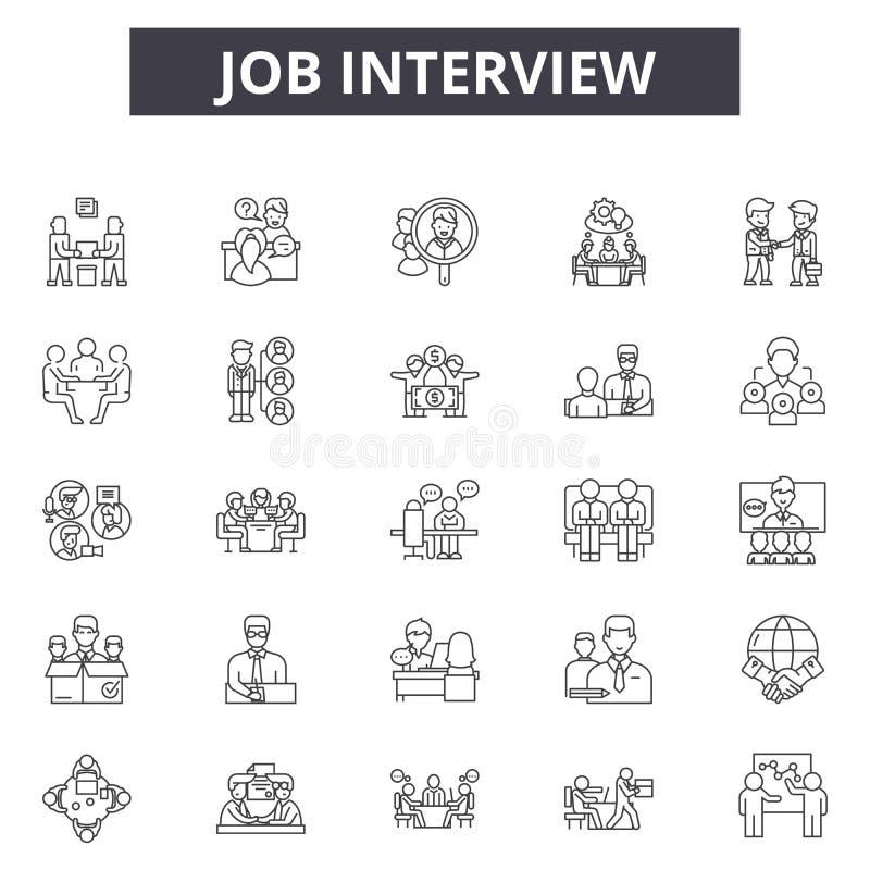 Linje symboler, tecken, vektoruppsättning, översiktsillustrationbegrepp för jobbintervju stock illustrationer