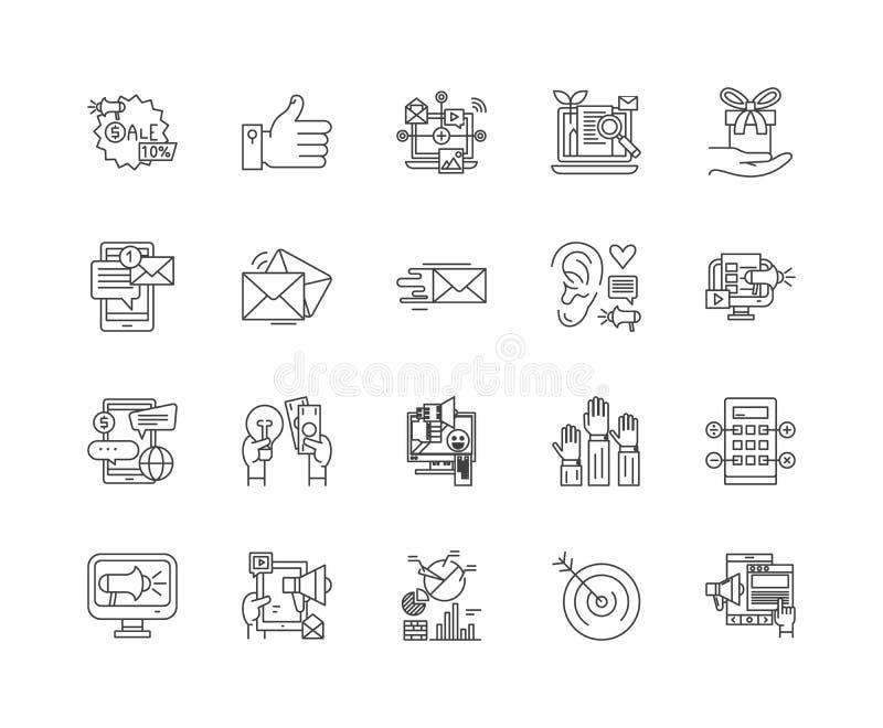 Linje symboler, tecken, vektorupps?ttning, ?versiktsillustrationbegrepp f?r internetmarknadsf?ringsbyr? stock illustrationer