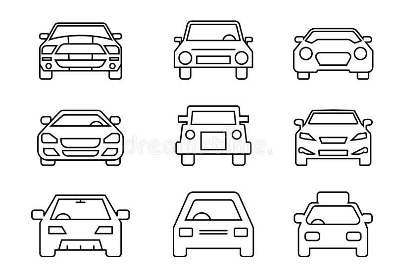 Linje symboler uppsättning, trans., bilframdel, vektorillustrationer vektor illustrationer