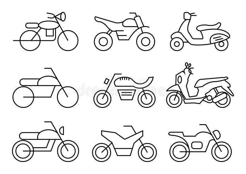 Linje symboler uppsättning, trans., motorcykel, vektorillustrationer vektor illustrationer