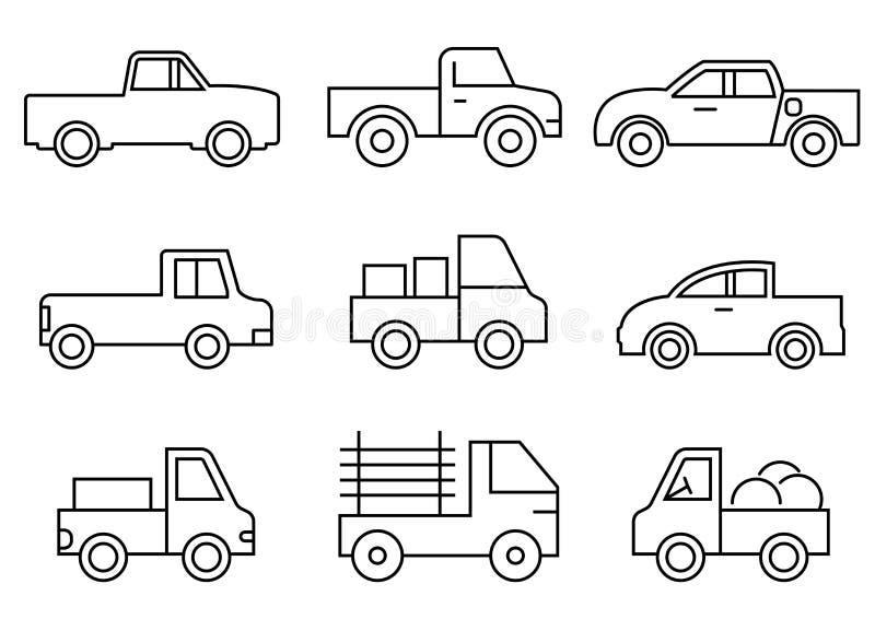 Linje symboler uppsättning, trans., pickup, vektorillustrationer royaltyfri illustrationer