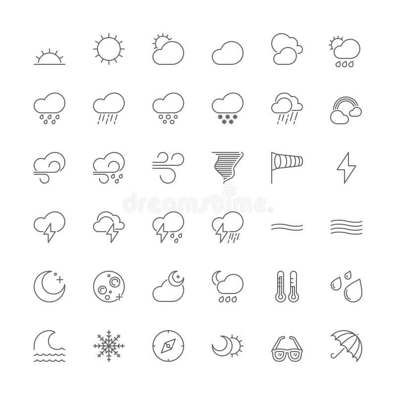 Linje symboler Vädret royaltyfri illustrationer